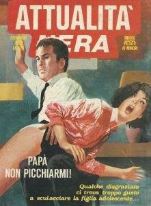 De voorkant van een Italiaans tijdschrift of boek, met een afbeelding van een jonge vrouw die van een man op haar billen krijgt.